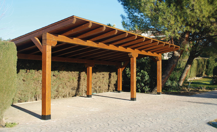 Pergomadera Pérgolas y Porches de madera โรงจอดรถ