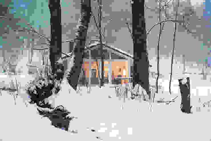 Ich erwarte Sie und meine Fußbodenheizung ist wohlig warm - Dein Ferienhaus im grünen Herzen Deutschland Moderne Häuser von Ferienhaus Lichtung im grünen Herzen Deutschland Modern