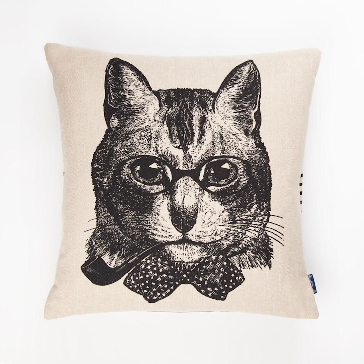 Sophisticated Cat- 45cm hand screen printed cushion Chase and Wonder Kolonyal
