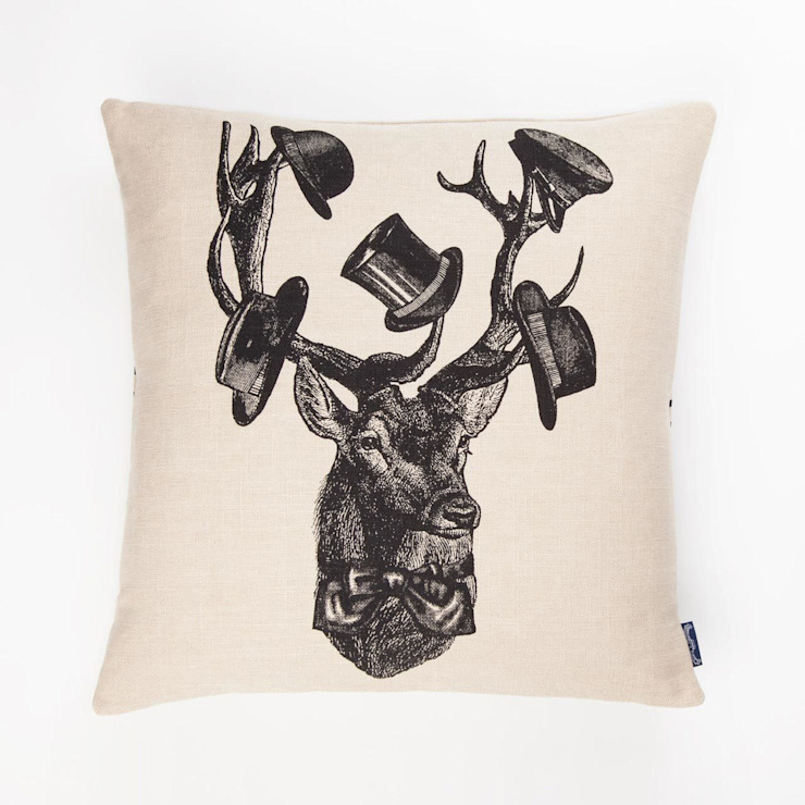 Sophisticated Stag- 45cm hand screen printed cushion: colonial  by Chase and Wonder, Colonial