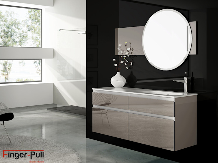 """Baño alto brillo Luxe by Alvic con puertas Finger-Pull en """"perfil J"""" de ALVIC Minimalista"""