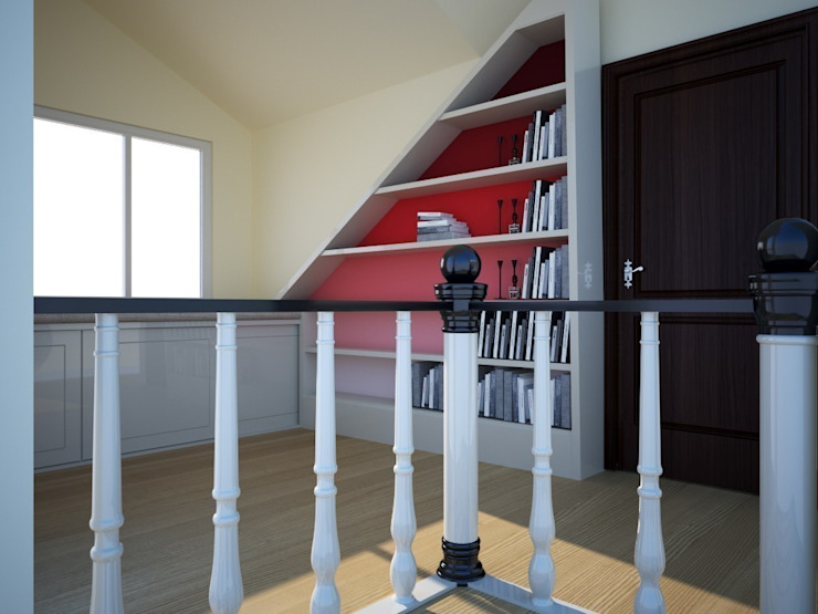 Konut İç Mimari Dekorasyon Projesi Portakal mimarlik Çalışma OdasıDolap & Raflar