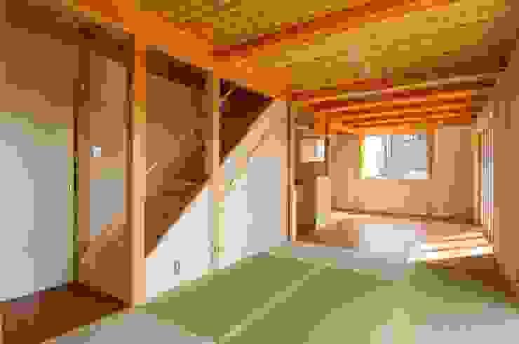 畳リビングからダイニング・階段を見る。 オリジナルデザインの ダイニング の 氏原求建築設計工房 オリジナル