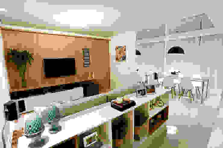 Apartamento AR- Joinville/SC – Estúdio Kza Arquitetura e Interiores Salas de estar modernas por Estúdio Kza Arquitetura e Interiores Moderno