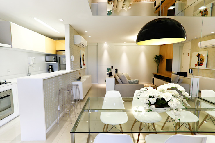 Apartamento AR- Joinville/SC – Estúdio Kza Arquitetura e Interiores Salas de jantar modernas por Estúdio Kza Arquitetura e Interiores Moderno