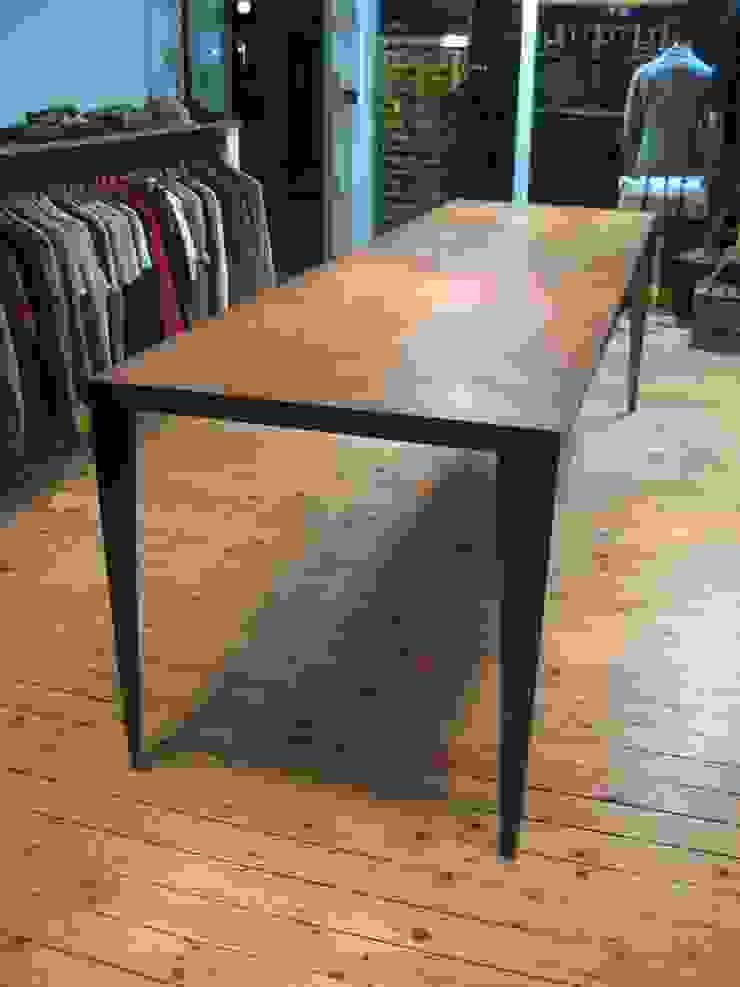 Aged Oak Herringbone table: industrial  by wemaketables, Industrial