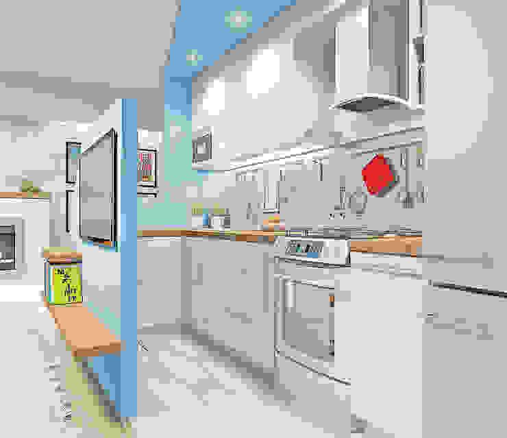 "<q class=""-first"">ГЕОМЕТРИЯ</q> дизайн кухни-гостиной Кухня в стиле модерн от Студия дизайна интерьеров 'Взгляд' Модерн"