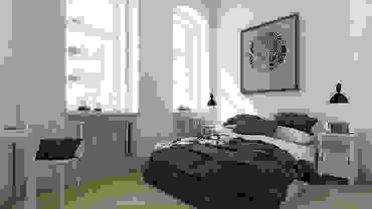 Mieszkanie, Katowice, Wita Stwosza Minimalistyczna sypialnia od musk collective design Minimalistyczny