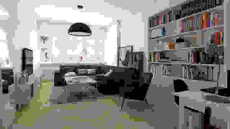 Mieszkanie, Katowice, Wita Stwosza Minimalistyczny salon od musk collective design Minimalistyczny