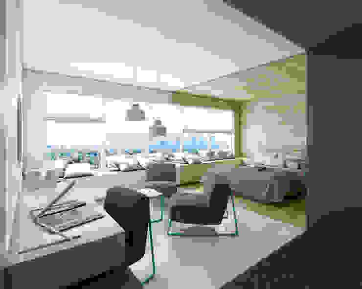 FO(U)R SPACES - linia mebli dla sektora hotelowego Minimalistyczna sypialnia od musk collective design Minimalistyczny