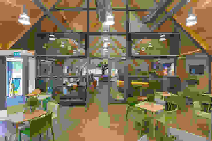 Duincafé met op de achtergrond pui met vitrines tbv opgezette dieren Moderne exhibitieruimten van BBHD architecten Modern