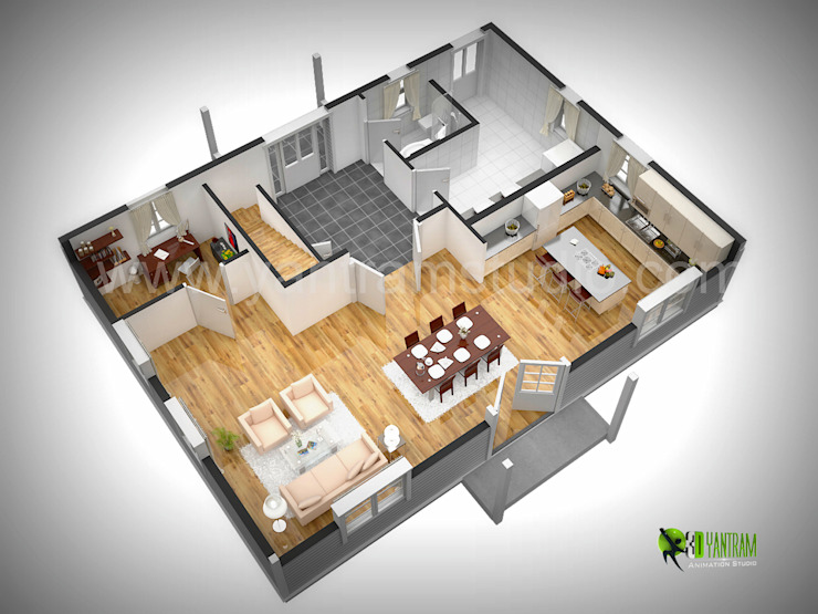 3D Floor Plan Rendering por Yantram Architectural Design Studio