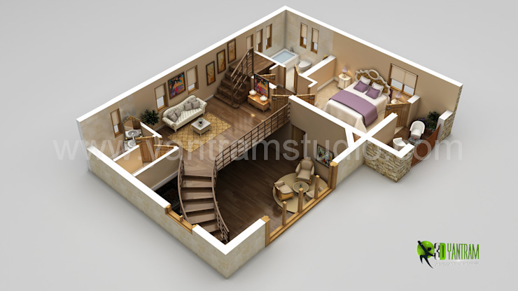 3D Home Floor Plan Design por Yantram Architectural Design Studio