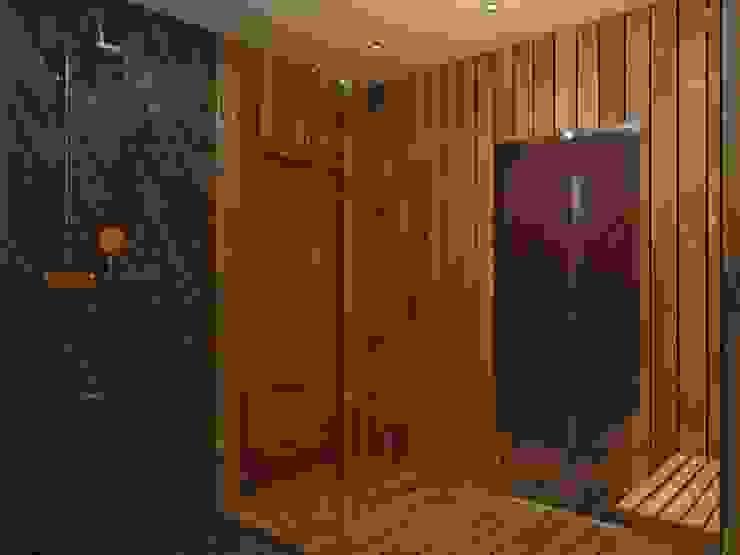 помывочная в бане, вид на душевую Ванная комната в эклектичном стиле от ArtBuro365 Эклектичный