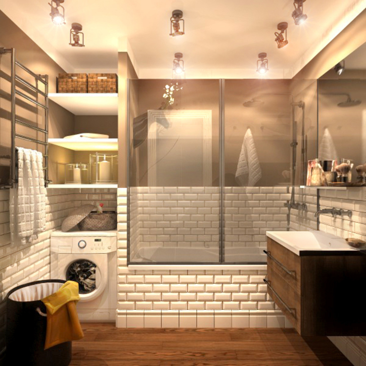 Ванная 1 Ванная комната в рустикальном стиле от Inna Katyrina & 'A-LITTLE-GREEN' studio interiors Рустикальный