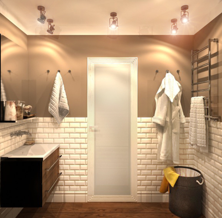 Ванная 3 Ванная комната в рустикальном стиле от Inna Katyrina & 'A-LITTLE-GREEN' studio interiors Рустикальный