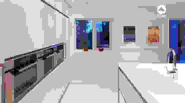 White handleless kitchen in Leeds Minimalist kitchen by homify Minimalist