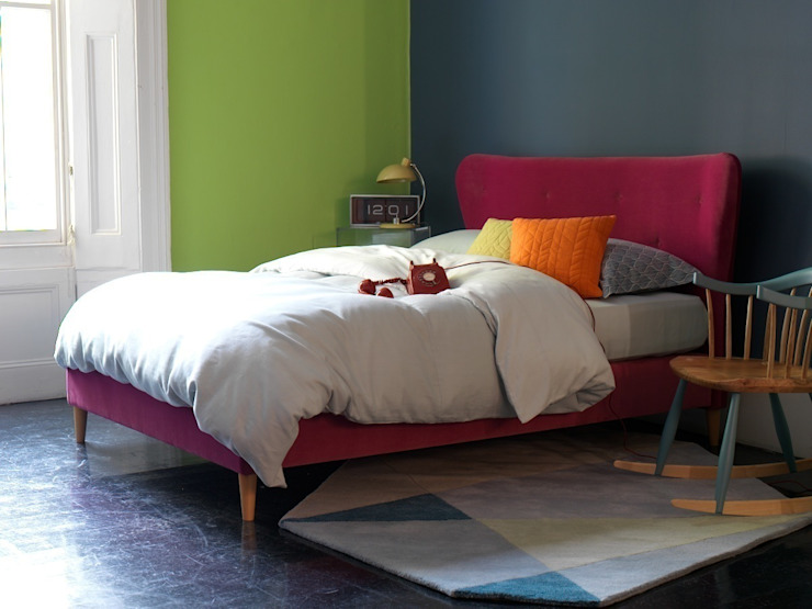 Eliza King Size Bed Frame in Linwood Omega fabric: modern  by Button & Sprung, Modern