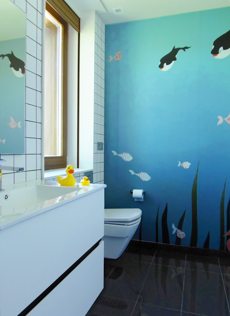 Vivienda unifamiliar, Ourense, Galicia. Baños de estilo moderno de Oito Interiores Moderno
