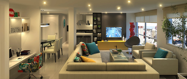 Apartamento Living Estendido Salas de estar modernas por Monte Arquitetura Moderno