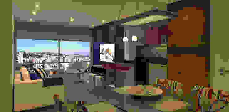 Living Apartamento Salas de jantar modernas por Monte Arquitetura Moderno