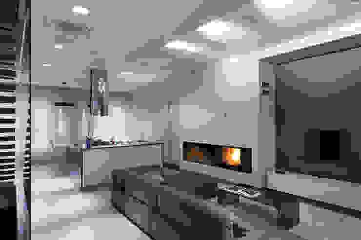 Гостиная камин Гостиная в стиле минимализм от (DZ)M Интеллектуальный Дизайн Минимализм