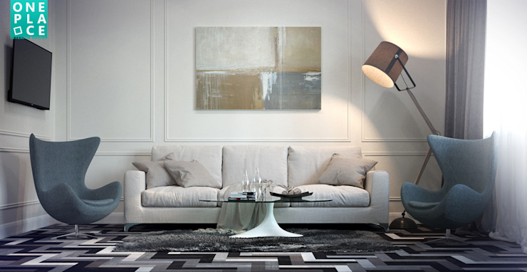 Однушка на 78 м. кв. Гостиные в эклектичном стиле от OnePlace studio interior design Эклектичный