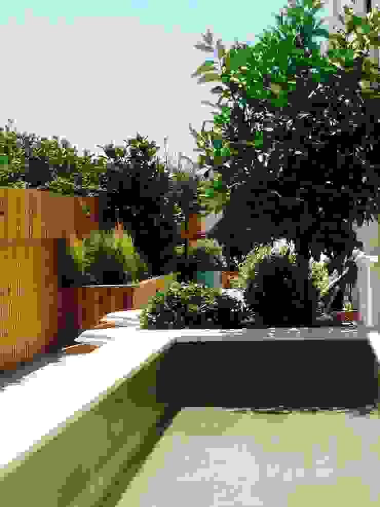 Detalle de terraza en Madrid, Spain Jardines de estilo mediterráneo de a.s.paisajimo Mediterráneo