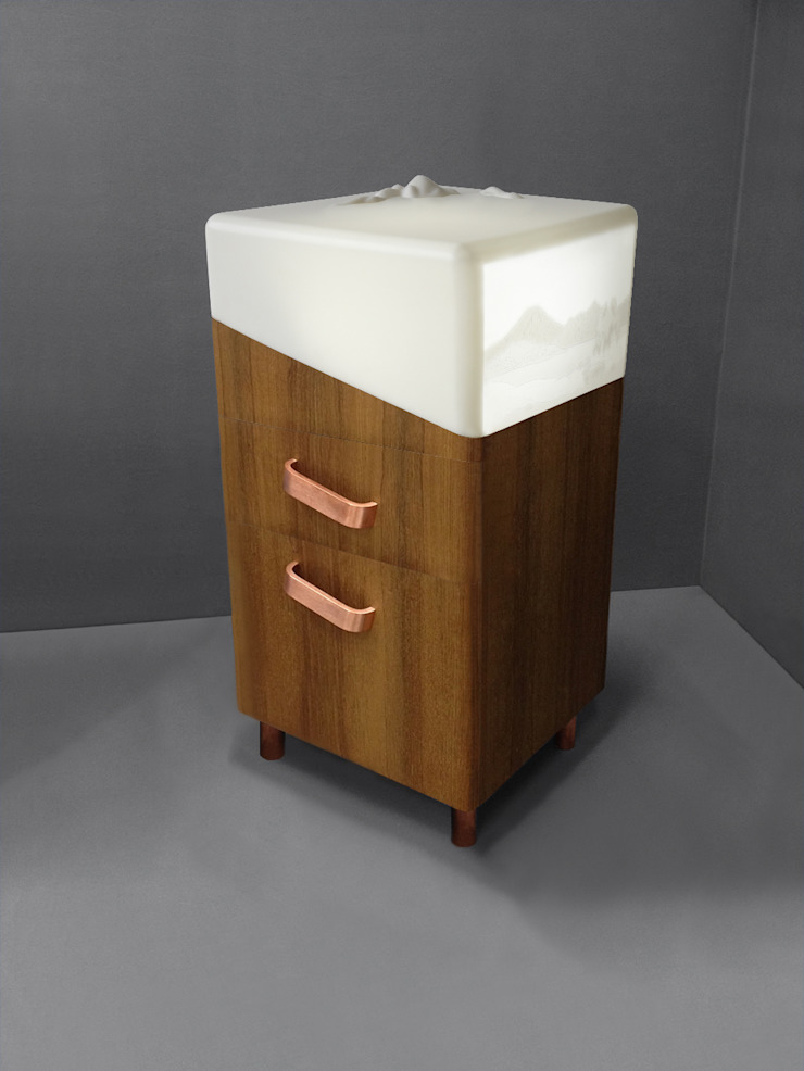 Jardin d'Hiver - table de chevet pour relaxation - version avec tiroirs - Teck Géraldine Biard ChambreTables de nuit
