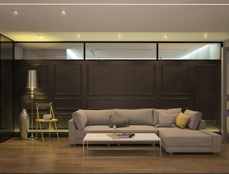 Квартира для молодой пары Гостиные в эклектичном стиле от E_interior Эклектичный