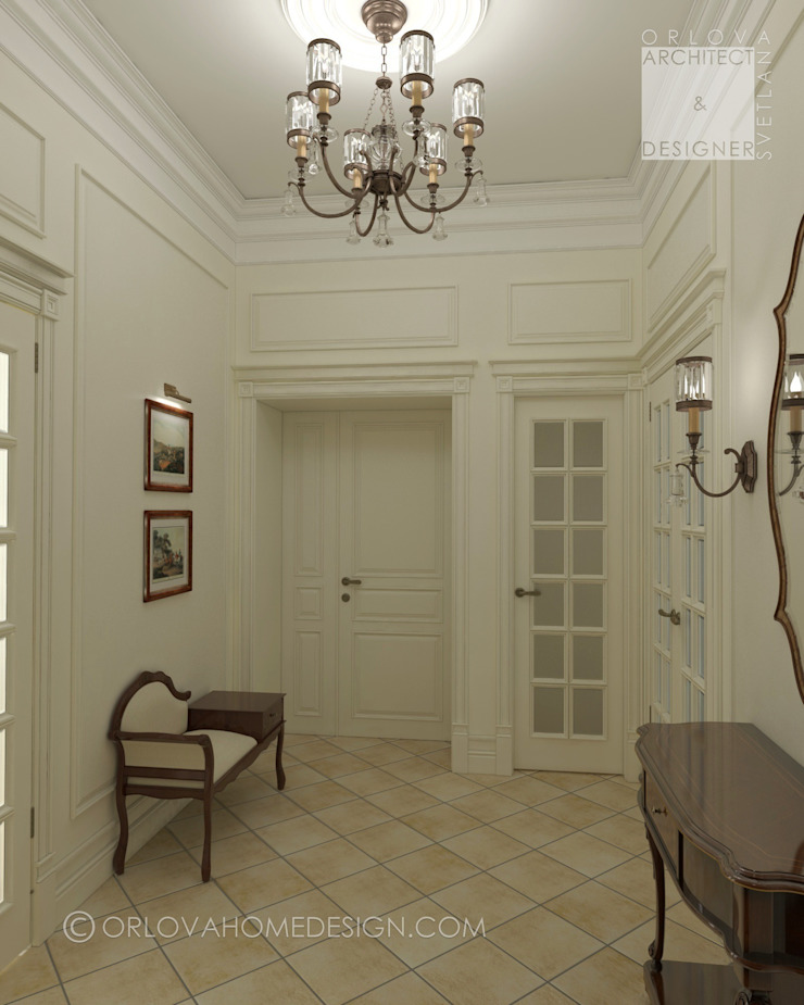 Orlova Home Design Classic style corridor, hallway and stairs