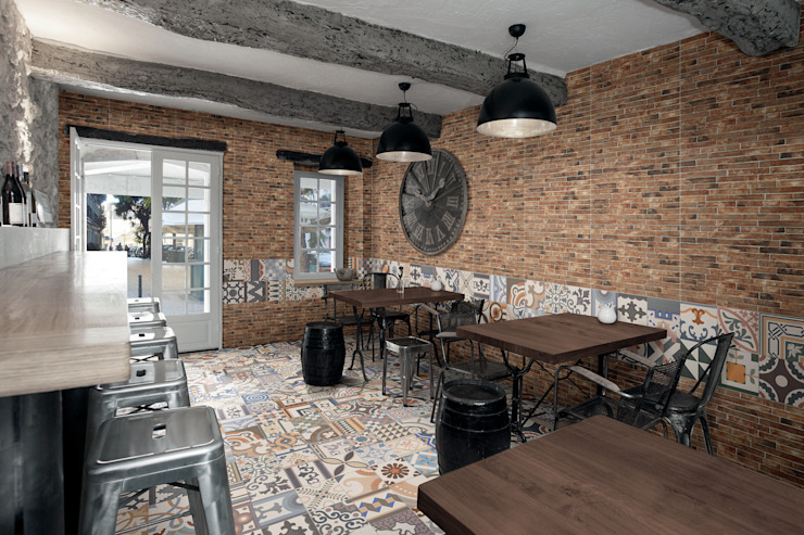 East End Brick Industrial style dining room by The Baked Tile Company Industrial