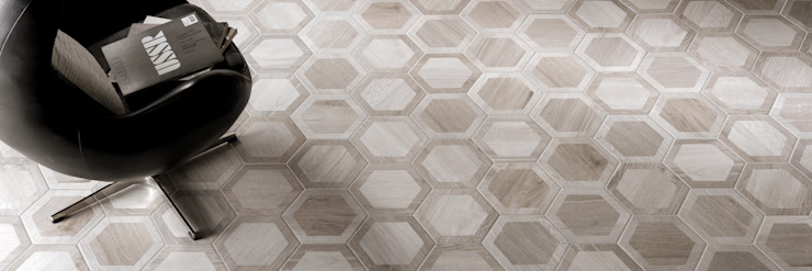 Hexagon Wood Modern living room by The Baked Tile Company Modern
