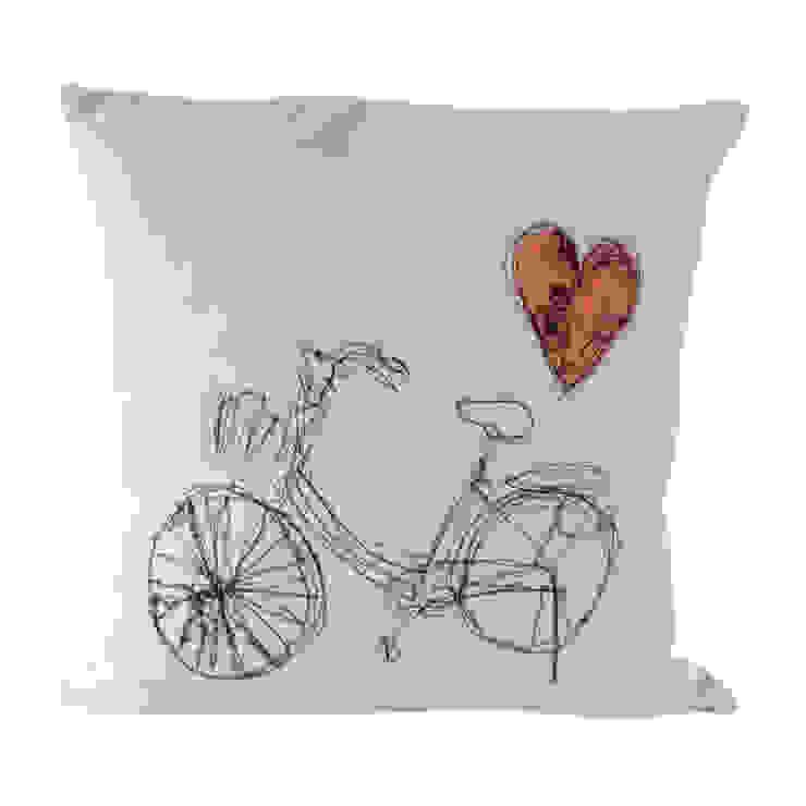 Bike freehand stitch cushion: modern  by bymarie, Modern