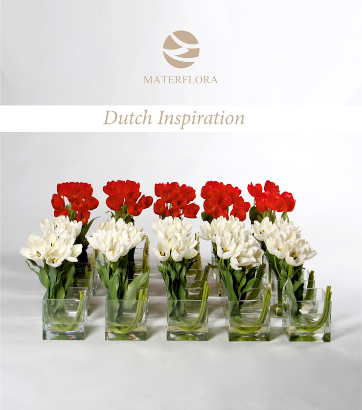 Red and White Tulips arrangements Materflora Lda. HogarPlantas y accesorios