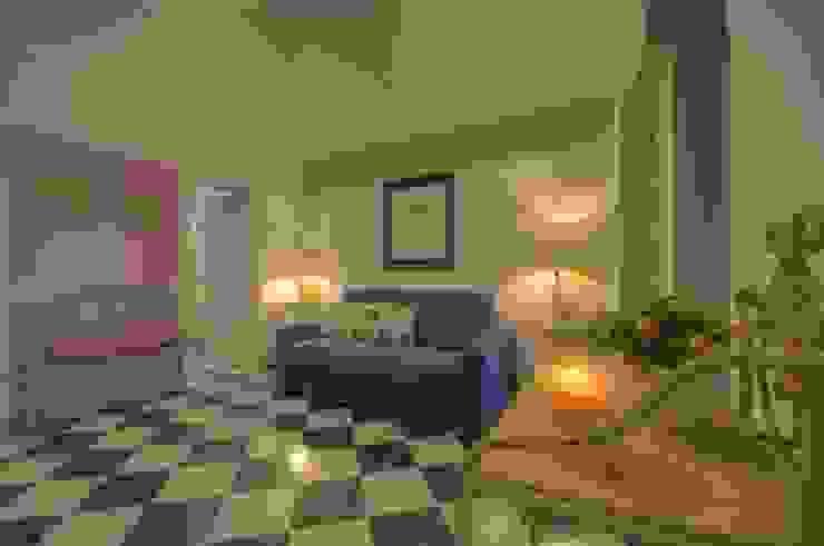 ambiente unico ingresso e soggiorno di Lella Badano Homestager Moderno