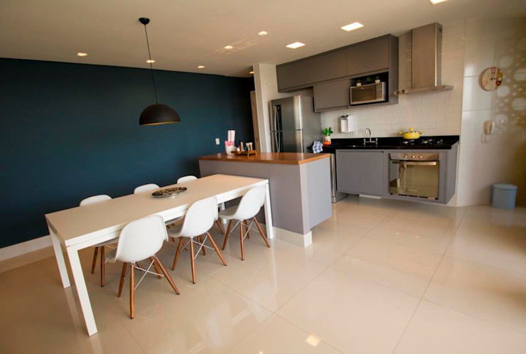 Apartamento Tamboré Salas de jantar modernas por Le Haus - Arquitetura +Design Moderno