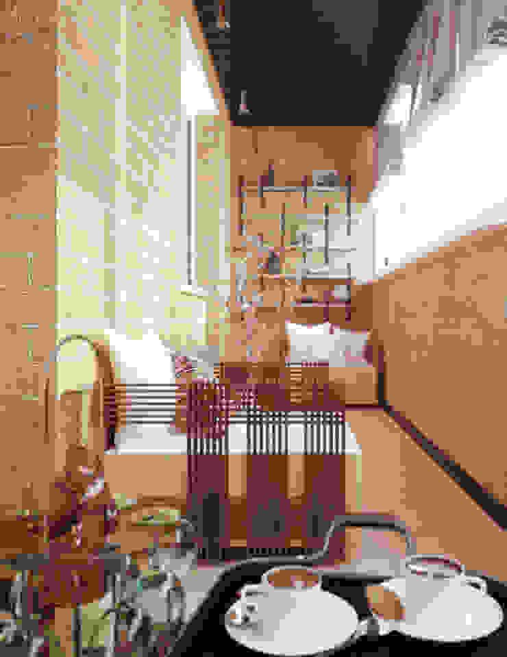 """Дизайн балкона в стиле """"лофт"""" в ЖК """"Янтарный"""" (Краснодар) Балкон и веранда в стиле лофт от Студия интерьерного дизайна happy.design Лофт"""