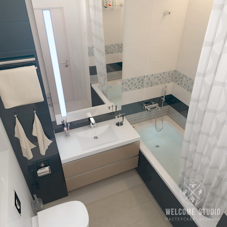 Minimalist bathroom by Мастерская дизайна Welcome Studio Minimalist