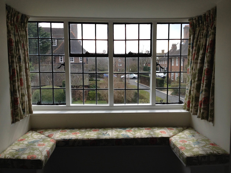 Bay Window William Morris Sill length Curtains WAFFLE Design Windows & doorsCurtains & drapes