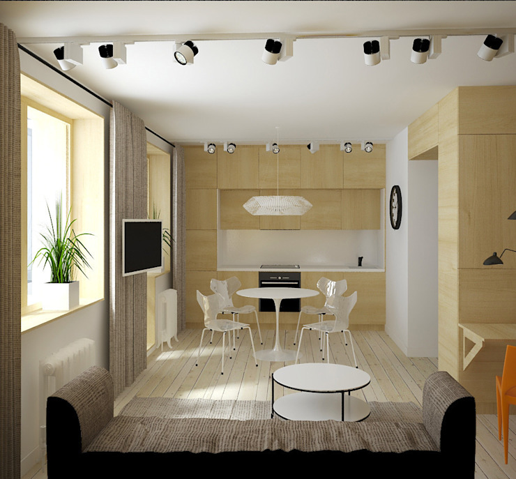 зона кухни Кухня в скандинавском стиле от artemuma - архитектурное бюро Скандинавский