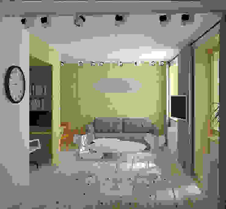 зона гостиной-спальни Гостиная в скандинавском стиле от artemuma - архитектурное бюро Скандинавский