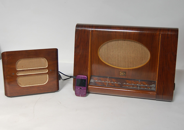 Vintage 1950s HMV Wooden Valve Radio Model 1122 & 1940s Stentorian Bristol Extension Wooden Speaker by Retro Bazaar Ltd Eclectic