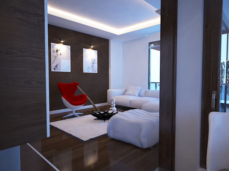 Livings de estilo moderno de İNDEKSA Mimarlık İç Mimarlık İnşaat Taahüt Ltd.Şti. Moderno
