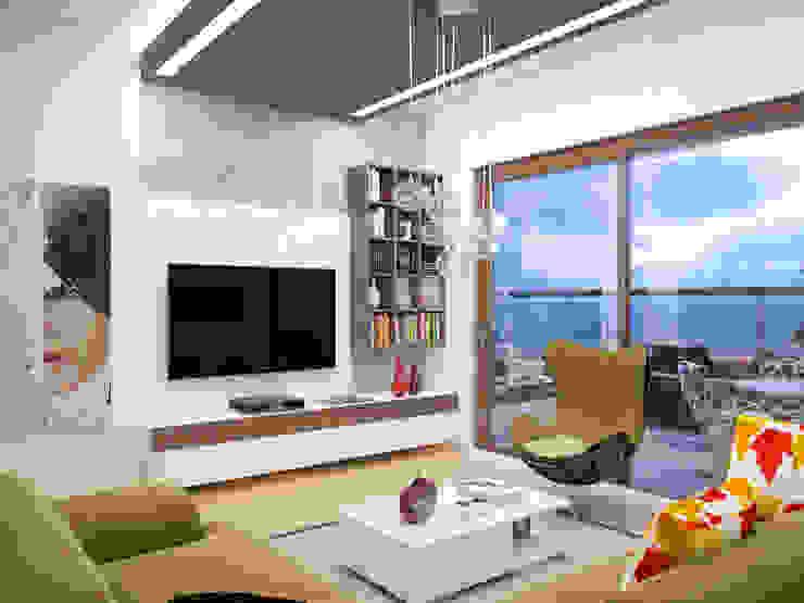 ห้องนั่งเล่น โดย İNDEKSA Mimarlık İç Mimarlık İnşaat Taahüt Ltd.Şti.,