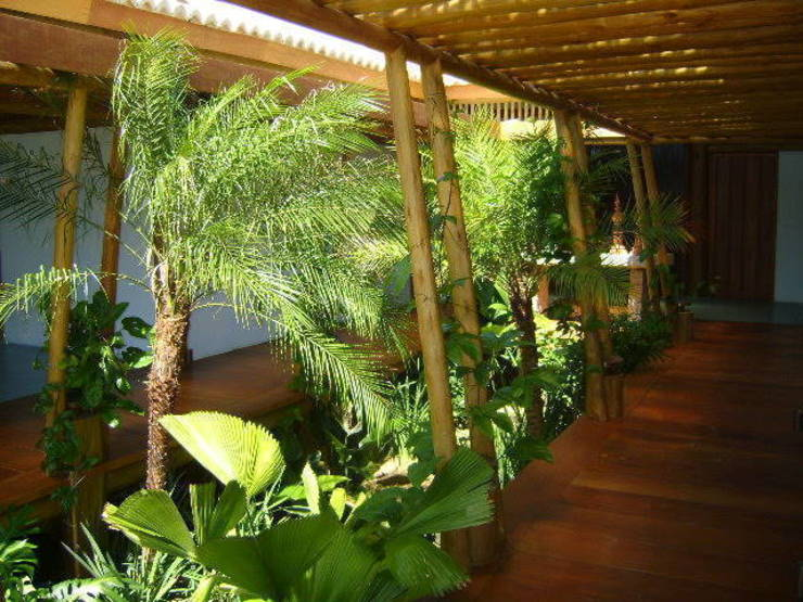 CASA TRANCOSO.BAHIA.BRASIL: Jardins  por Línea Paisagismo.Claudia Muñoz