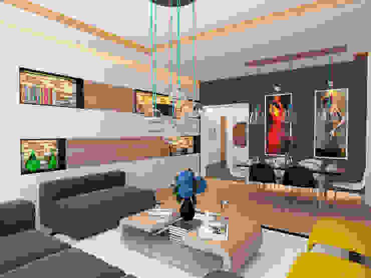 Moderne woonkamers van İNDEKSA Mimarlık İç Mimarlık İnşaat Taahüt Ltd.Şti. Modern