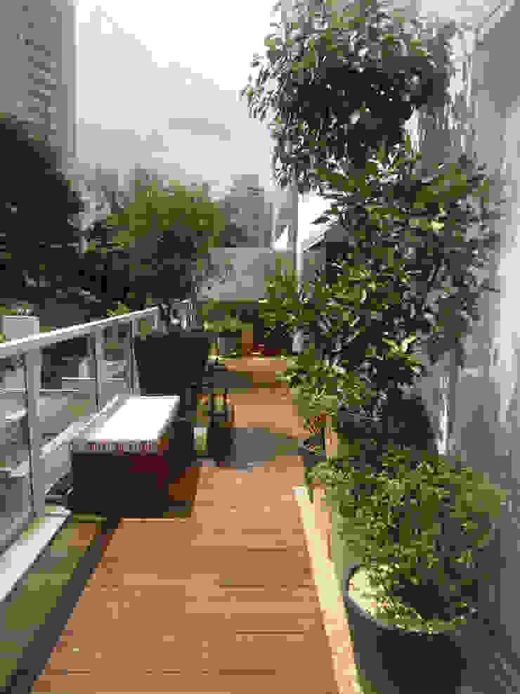 VARANDA VILA NOVA CONCEIÇÃO.SÃO PAULO.BRASIL Varandas, alpendres e terraços modernos por Línea Paisagismo.Claudia Muñoz Moderno