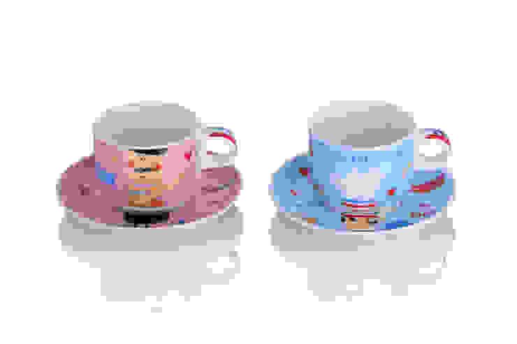 2 Filiżanki ze spodeczkiem Paris duże -komplet 4 el. od Silly Design - prezentowa porcelana Nowoczesny