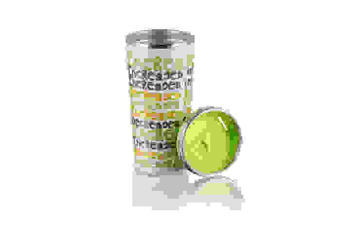 Kubek termiczny termos 400ml Zielone Napisy od Silly Design - prezentowa porcelana Nowoczesny